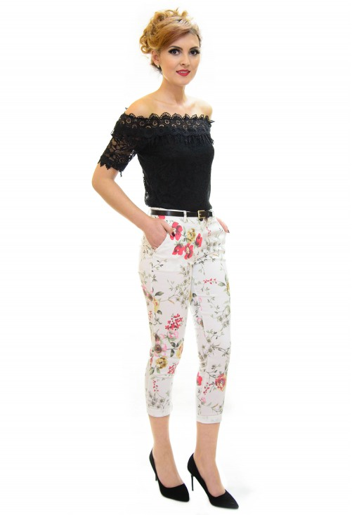 Pantaloni Flower Effect White