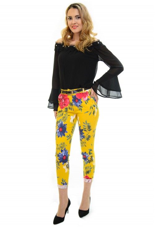 Pantaloni Tropical Flowers Mustard