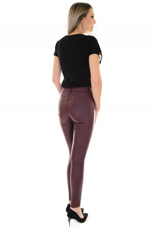 Pantaloni Waxed Leather Burgundy