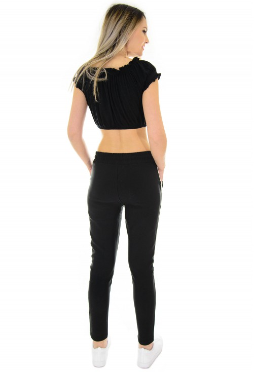 Pantaloni Joyful Stripe Black
