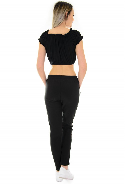 Pantaloni Joyful Colored Stripe Black