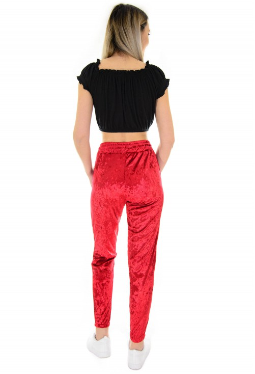 Pantaloni Wave Velvet Red