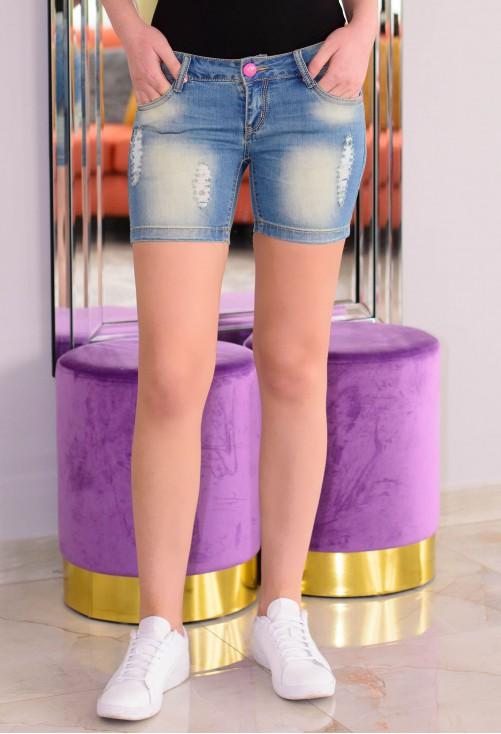 Pantaloni Scurti Pink Button
