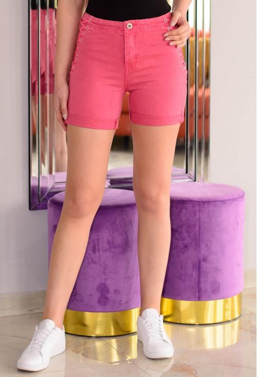 Pantaloni Scurti High Lace Pink