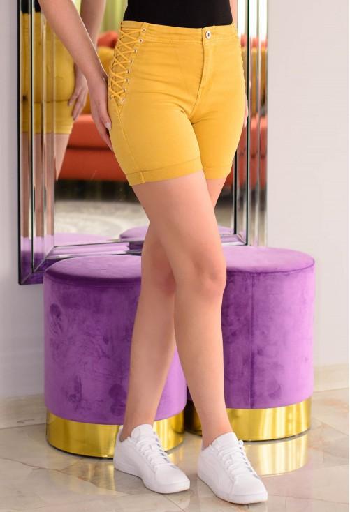Pantaloni Scurti High Lace Mustard