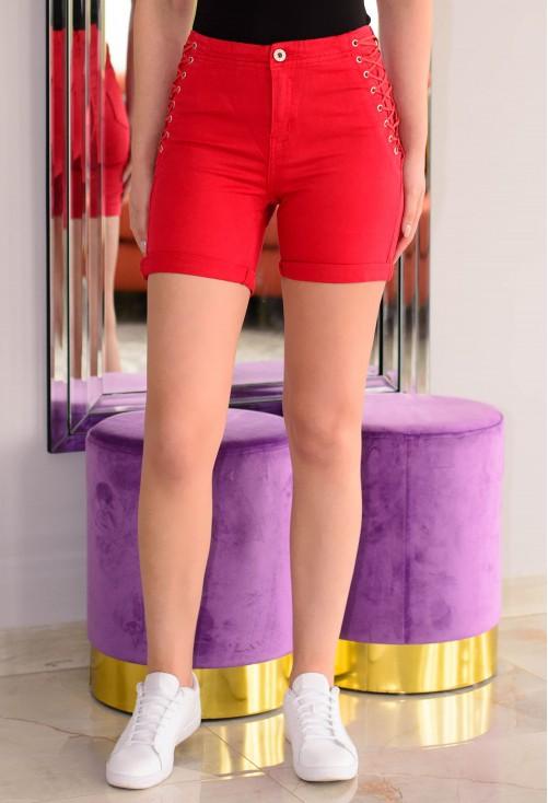 Pantaloni Scurti High Lace Red