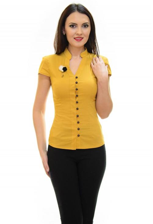 Camasa Fluff Buttons Mustard