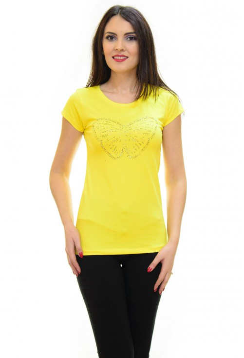 Tricou Sparkle Butterfly Yellow