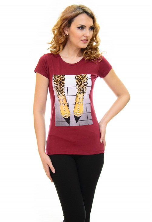 Tricou High Print Burgundy