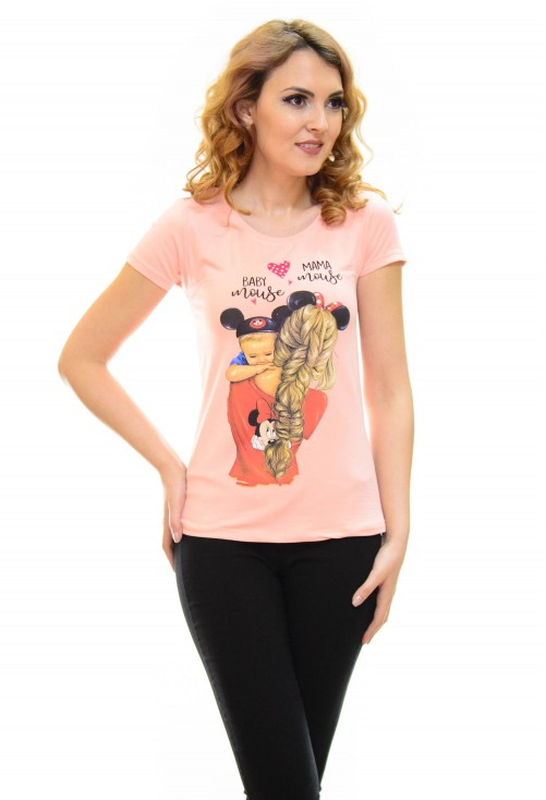 Tricou Mouse Family Pink