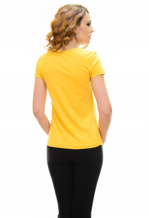 Tricou Fashion Book Mustard