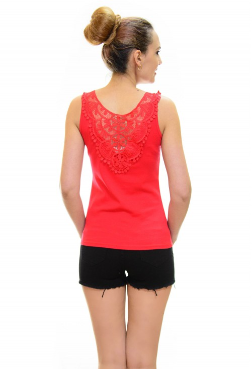 Top Cristal Lace Red