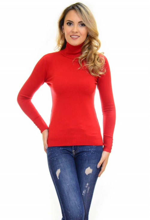 Pulover Neck Tight Red