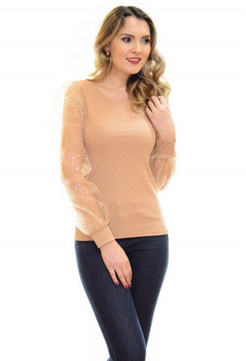 Bluza Shimmer Texture Camel
