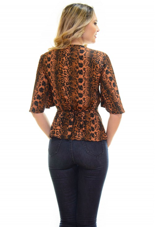 Bluza Fantastic Snake Print Brown