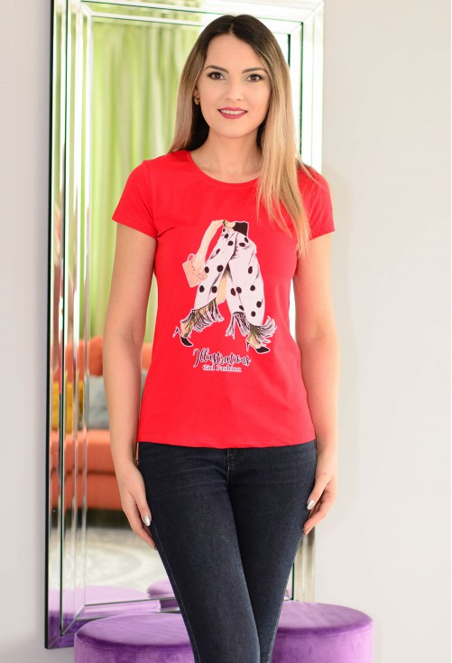 Tricou Illustrations Girl Red