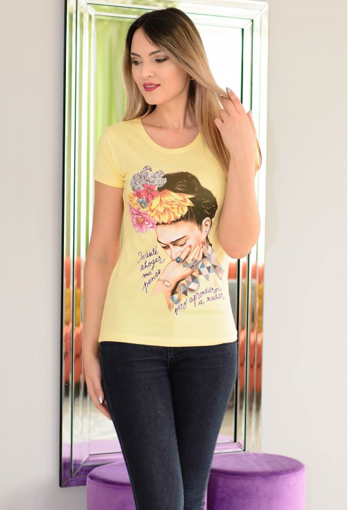 Tricou Hair Flowers Yellow