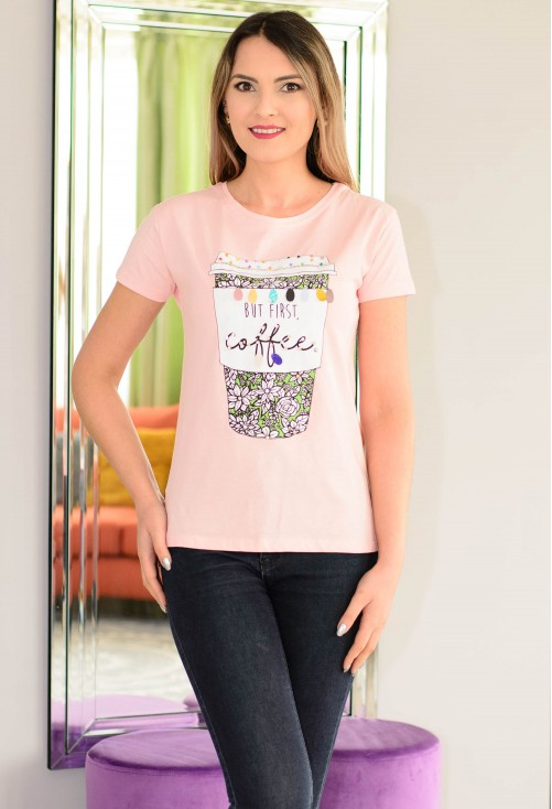 Tricou Coffee First Pink