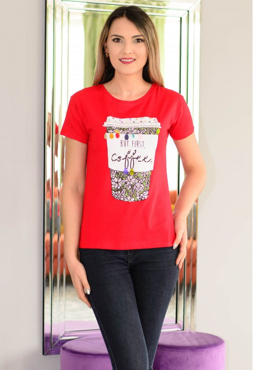 Tricou Coffee First Red