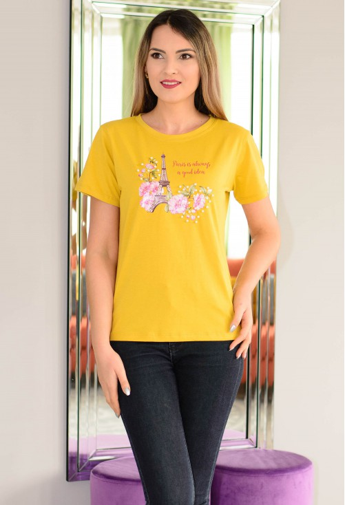 Tricou Paris Love Mustard