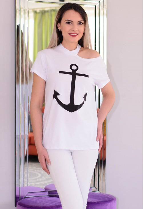 Tricou Navy Anchor White