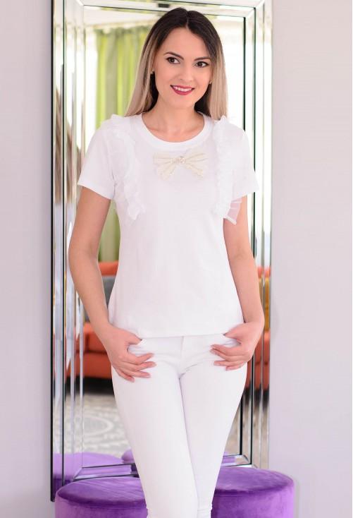 Tricou Sparkling Bow White