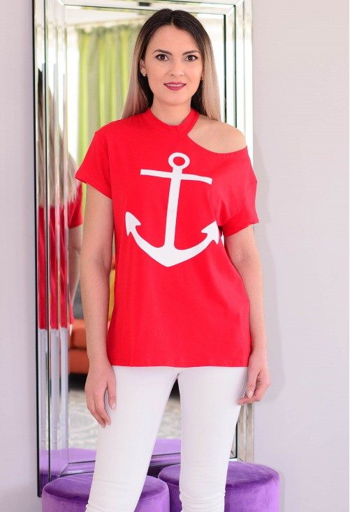 Tricou Navy Anchor Red