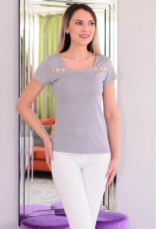 Tricou Heart Neckline Grey