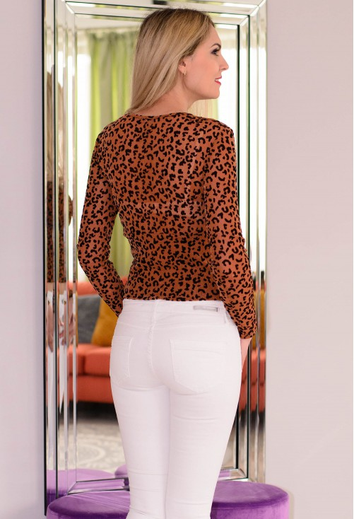 Bluza Velvet Animal Print Brown