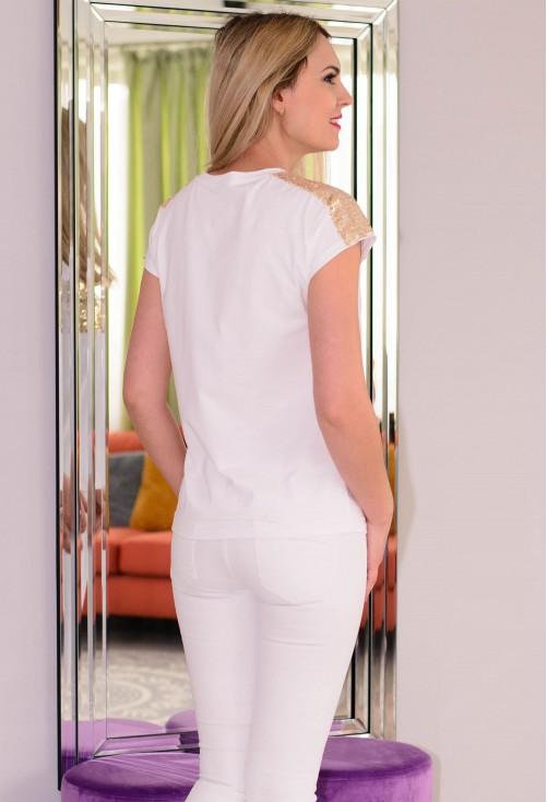 Tricou Golden Shoulders White