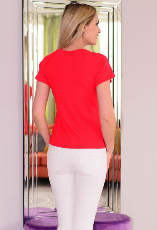 Tricou Loose Shoulders Red