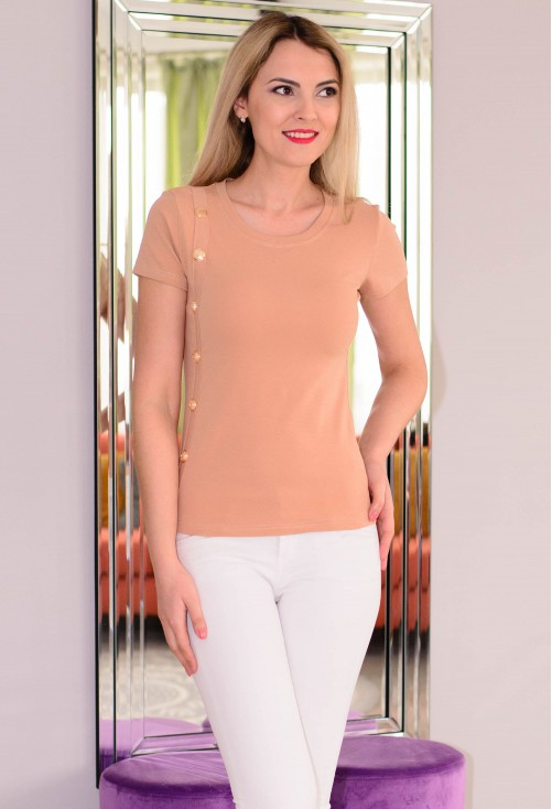 Tricou Straight Buttons Camel