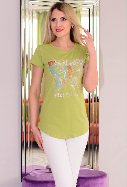 Tricou Crystal Butterfly Green