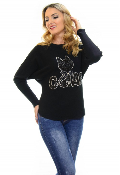 Pulover Cat Addiction Black