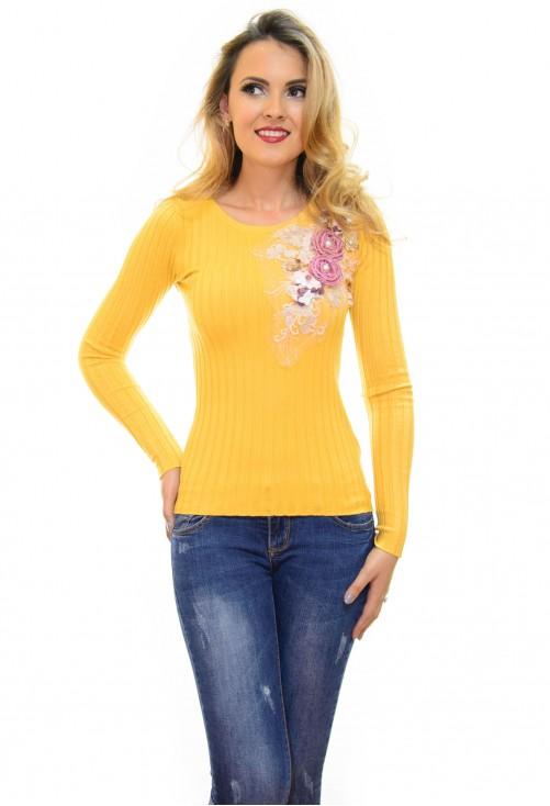 Pulover Flower Mood Mustard