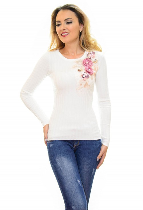 Pulover Flower Mood White
