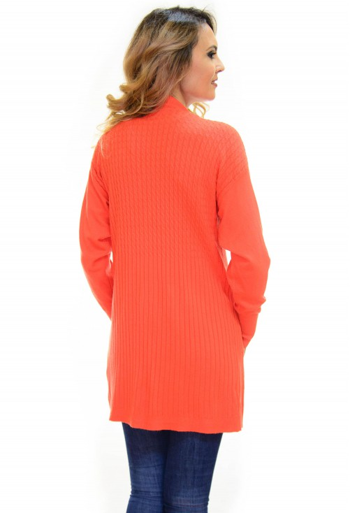 Cardigan On Tip Orange