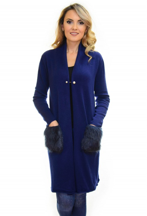 Cardigan Long Fluff DarkBlue