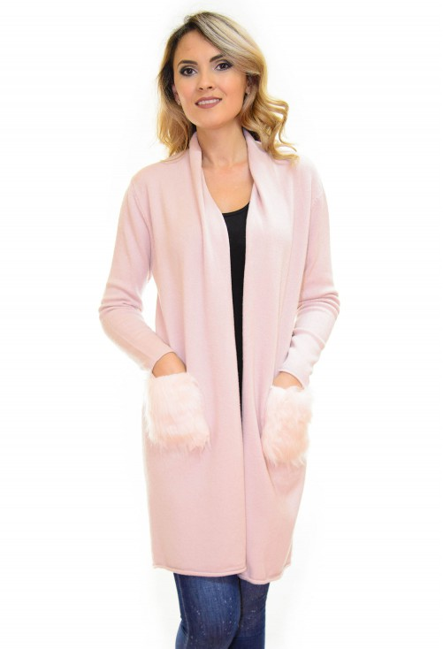 Cardigan Long Fluff Rose