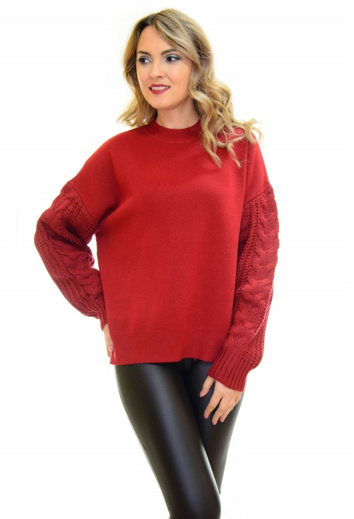 Pulover Thick Sleeve Burgundy