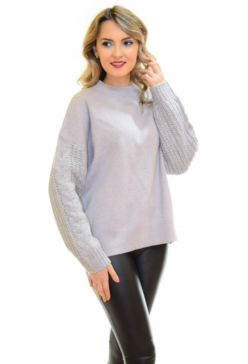 Pulover Thick Sleeve Grey