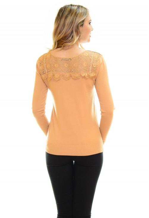 Pulover Elegant Lace Camel