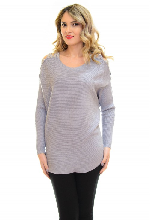 Pulover Butterfly Shoulder Grey