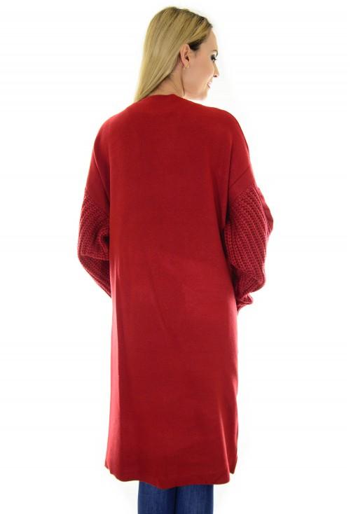 Cardigan Knitted Sleeves Burgundy