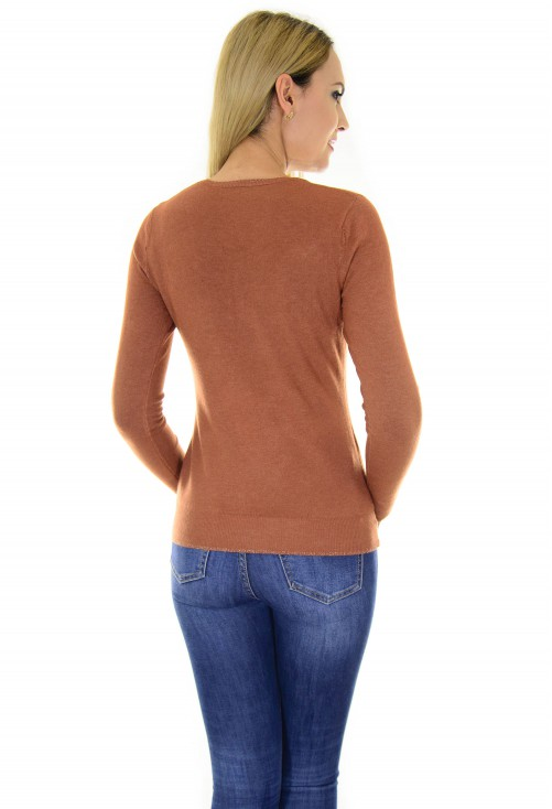 Pulover Discreet Buttons Brown