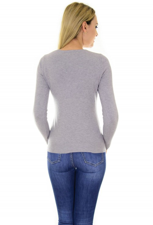 Pulover Discreet Buttons Grey
