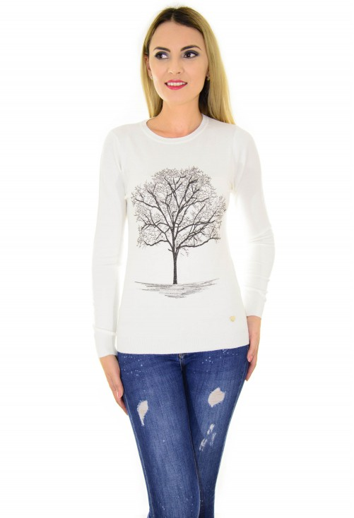 Pulover Life Tree White