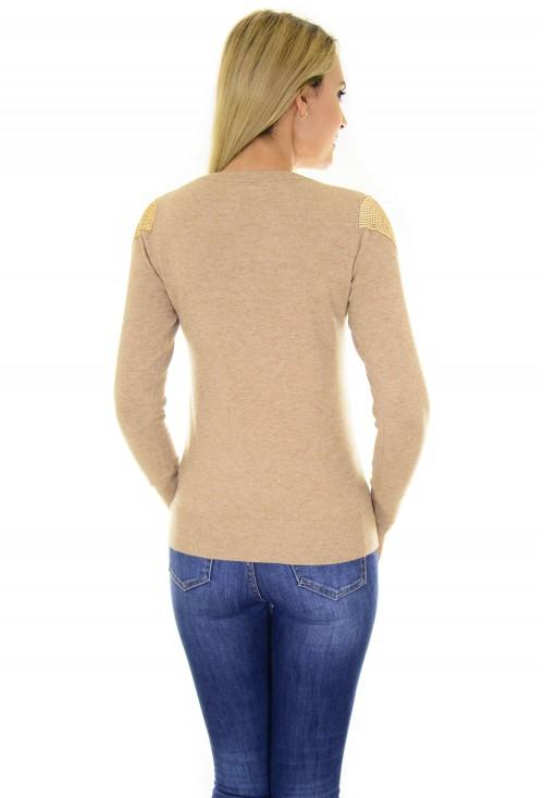 Pulover Golden Shoulder Beige