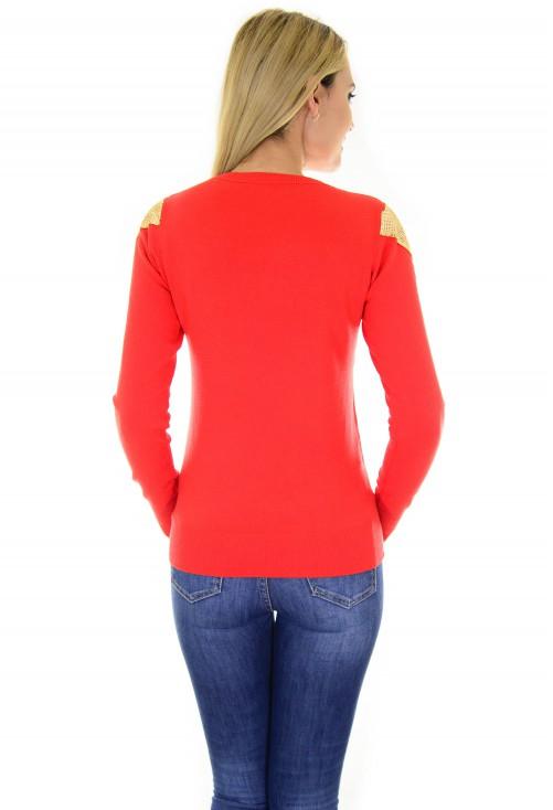 Pulover Golden Shoulder Red