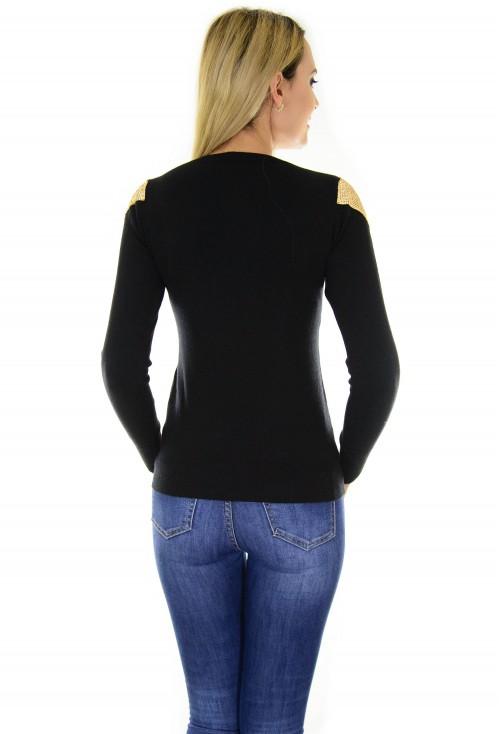 Pulover Golden Shoulder Black